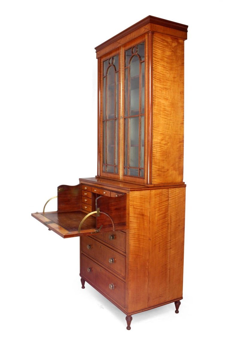 Regency Satinwood Secretaire Bookcase, circa 1815 For Sale 5