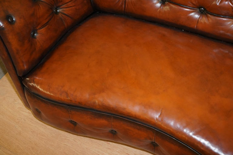 Regency Serpentine Hand Dyed Restored Whisky Brown Leather Chesterfield Sofa For Sale 4