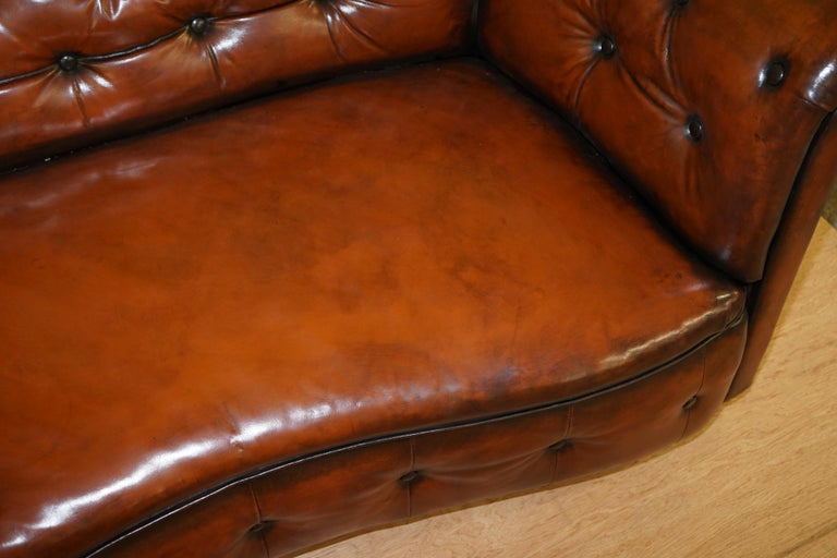 Regency Serpentine Hand Dyed Restored Whisky Brown Leather Chesterfield Sofa For Sale 5
