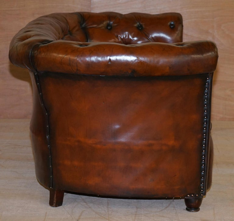 Regency Serpentine Hand Dyed Restored Whisky Brown Leather Chesterfield Sofa For Sale 6