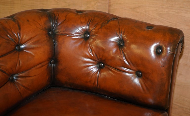 Regency Serpentine Hand Dyed Restored Whisky Brown Leather Chesterfield Sofa For Sale 7