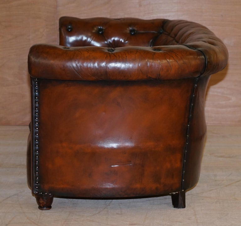 Regency Serpentine Hand Dyed Restored Whisky Brown Leather Chesterfield Sofa For Sale 11