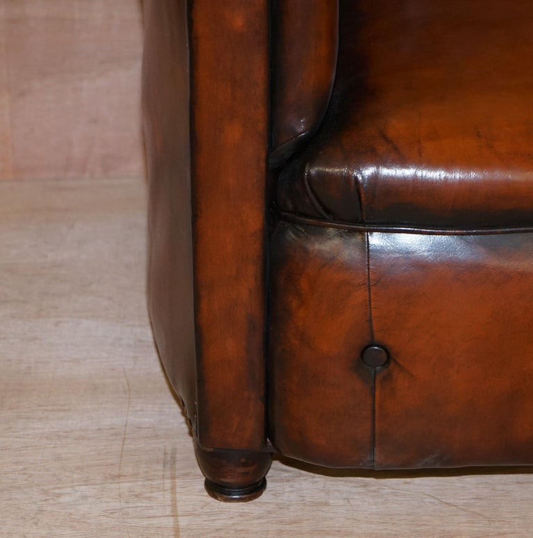 Early 19th Century Regency Serpentine Hand Dyed Restored Whisky Brown Leather Chesterfield Sofa For Sale