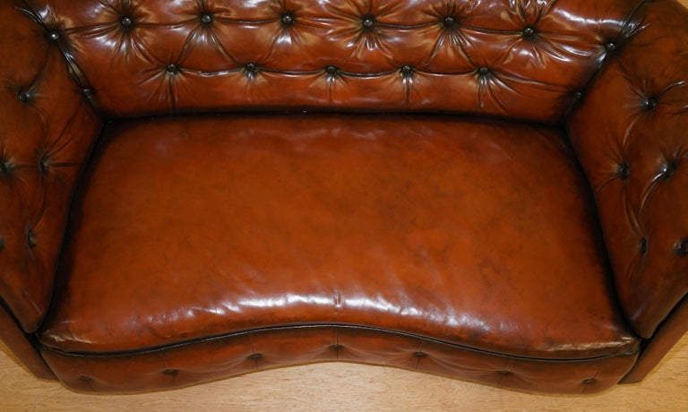 Regency Serpentine Hand Dyed Restored Whisky Brown Leather Chesterfield Sofa For Sale 3