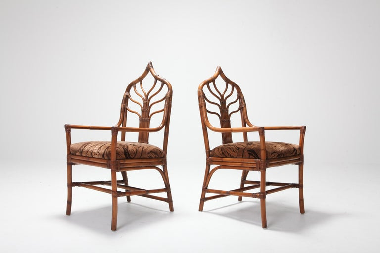 Regency Set of Italian Bamboo Dining Chairs with Floral Cushions For Sale 6