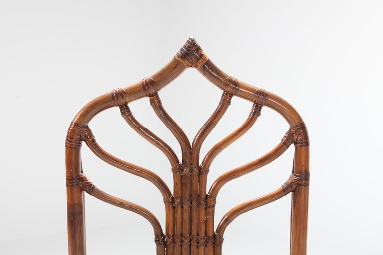 Regency Set of Italian Bamboo Dining Chairs with Floral Cushions For Sale 7