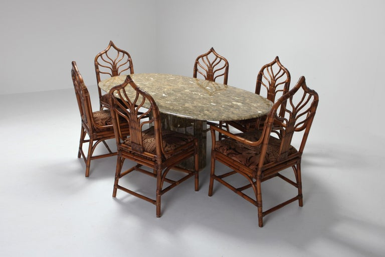 Regency Set Of Italian Bamboo Dining Chairs With Fl Cushions
