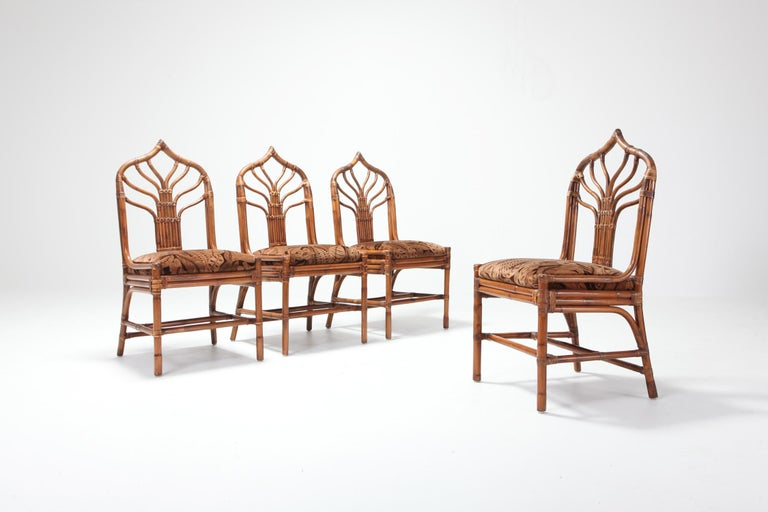 Hollywood Regency Regency Set of Italian Bamboo Dining Chairs with Floral Cushions For Sale