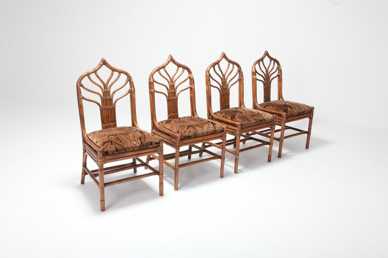 Mid-20th Century Regency Set of Italian Bamboo Dining Chairs with Floral Cushions For Sale