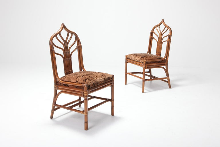 Regency Set of Italian Bamboo Dining Chairs with Floral Cushions For Sale 1
