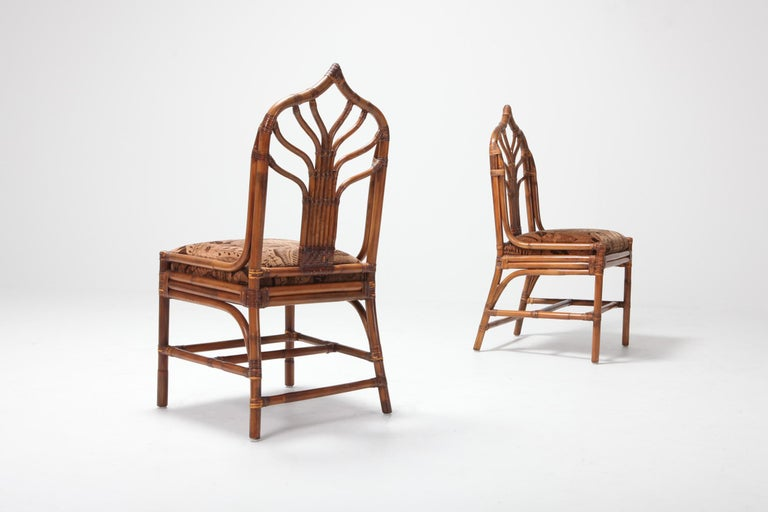 Regency Set of Italian Bamboo Dining Chairs with Floral Cushions For Sale 2