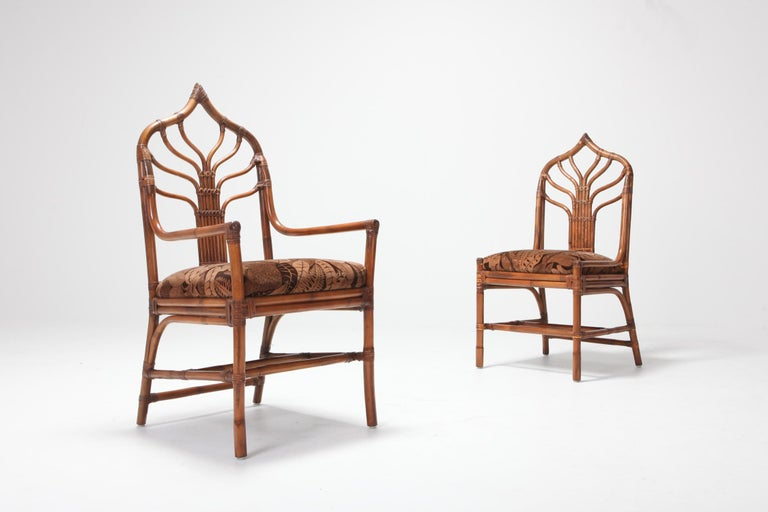 Regency Set of Italian Bamboo Dining Chairs with Floral Cushions For Sale 3