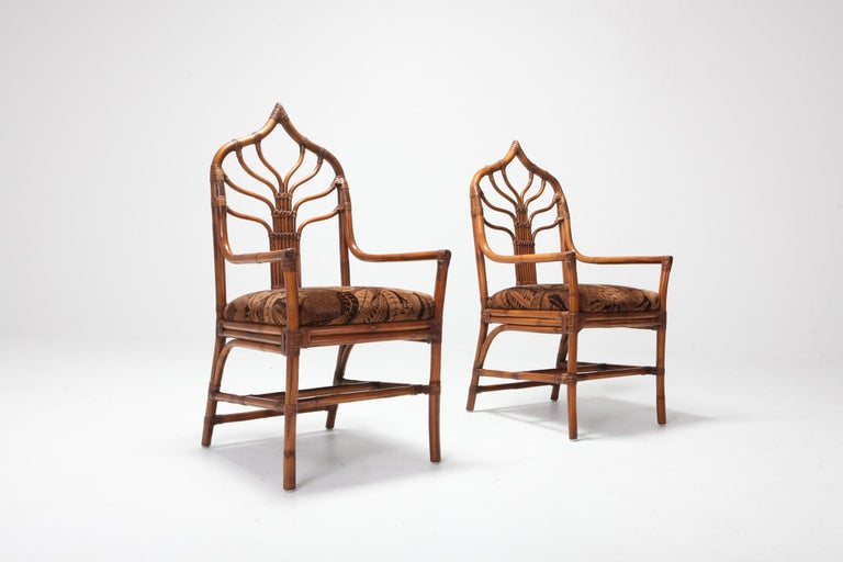 Regency Set of Italian Bamboo Dining Chairs with Floral Cushions For Sale 4