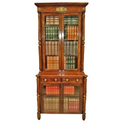 Regency Simulated Faux Calamader Bookcase of Small Proportions