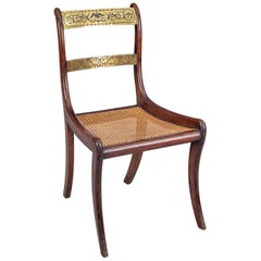 Regency Simulated Rosewood and Brass Side Chair
