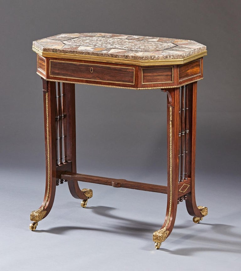 European Regency Specimen Marble Top Table For Sale