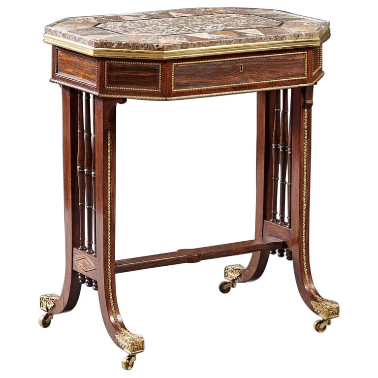 Regency Specimen Marble Top Table For Sale