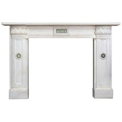 Regency Statuary Marble Fireplace with Wedgewood Plaques