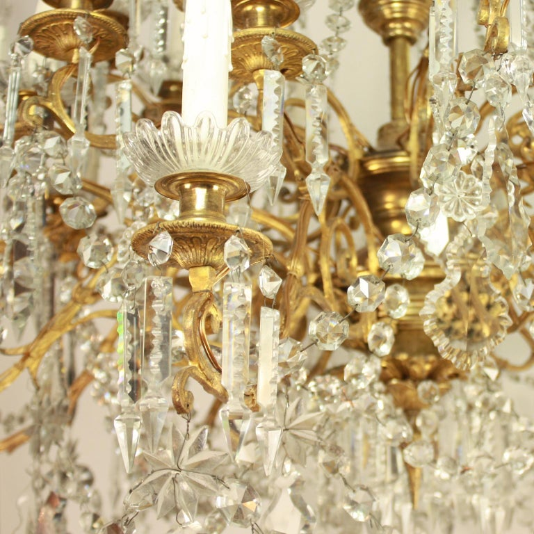 French Regency Style 36-Light Gilt-Bronze and Crystal-Cut Chandelier, circa 1860 For Sale
