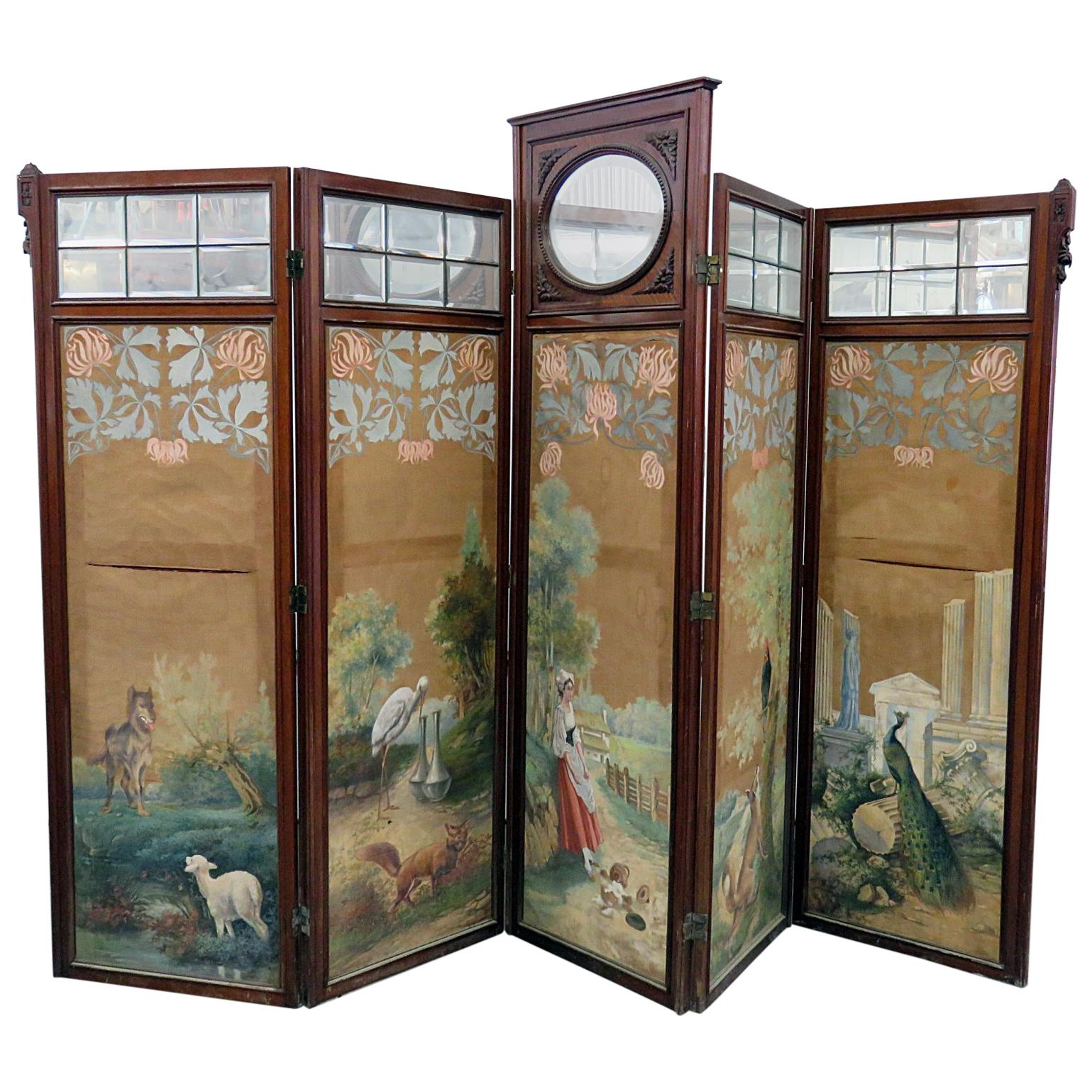 Paint Decorated Aesthetic Victorian 4-Panel Screen wirth Glazed Beveled Mirrors