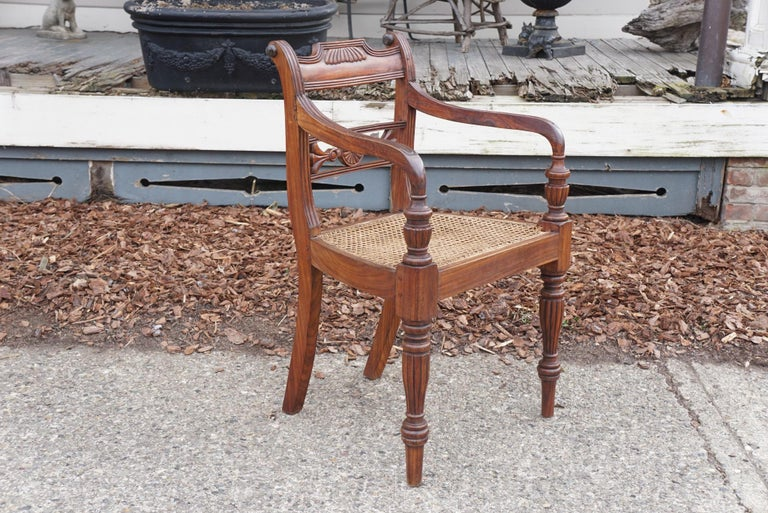 A good set of 10 vintage Anglo-Indian rosewood chairs in the Regency style made circa 1960. The set consists of 8 arms and two sides. Carved from solid indigenous rosewood the chairs are heavy and well made using the time-honored methods of pegged