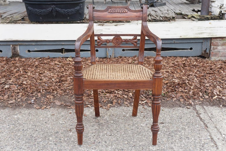 Caning Set of Ten Regency Style Anglo-Indian Chairs For Sale