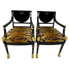 Regency Style Black Ebonized and Gilt Decorated Chairs with Animal Print Cushion