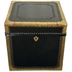 Regency Style Brass-Mounted Leather Cube Trunk