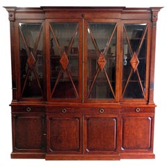 English Regency Mahogany Breakfront Bookcase China Cabinet