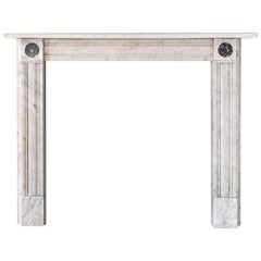 Regency Style Carrara Marble Fireplace with Peacock's Eye Roundels