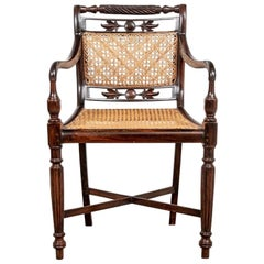 Regency Style Carved Rosewood and Caned Armchair