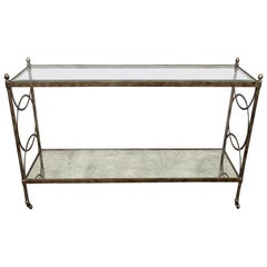 Maison Jansen Attr. Steel and Brass French Hollywood Regency Style Console Table