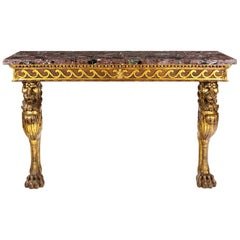 Regency Style Console Table with a Rouge Marble Top over Scrolling Apron