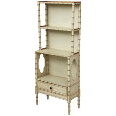 Regency Style Cream and Gilt Faux Bamboo Bookcase