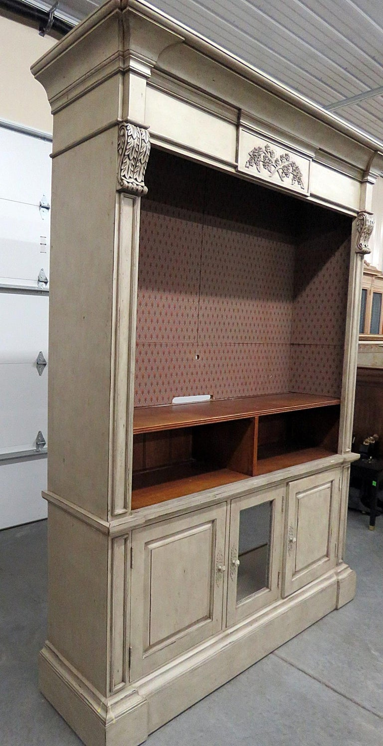 Fruitwood Regency Style Distressed Painted Entertainment Center