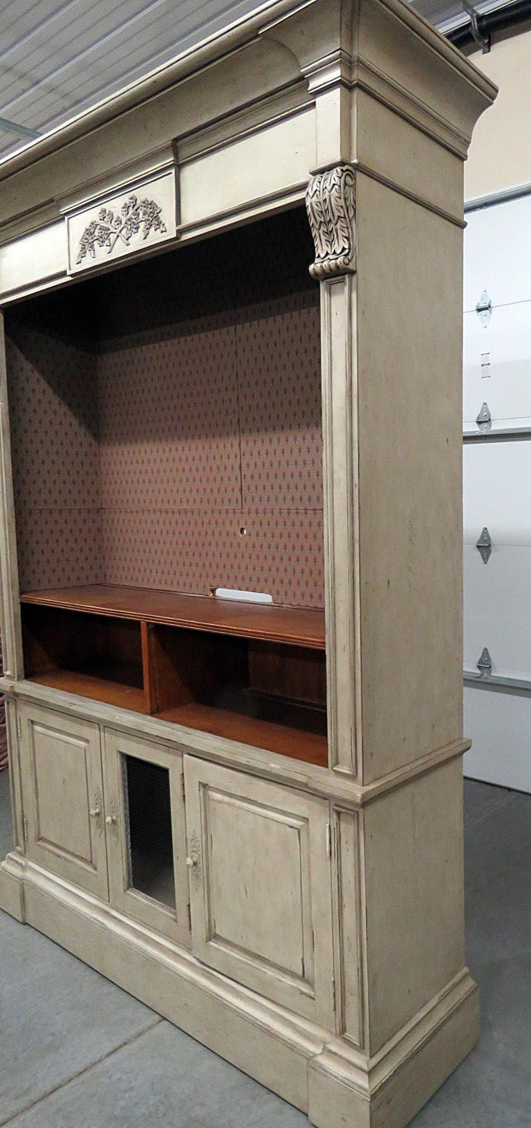 Regency Style Distressed Painted Entertainment Center 3
