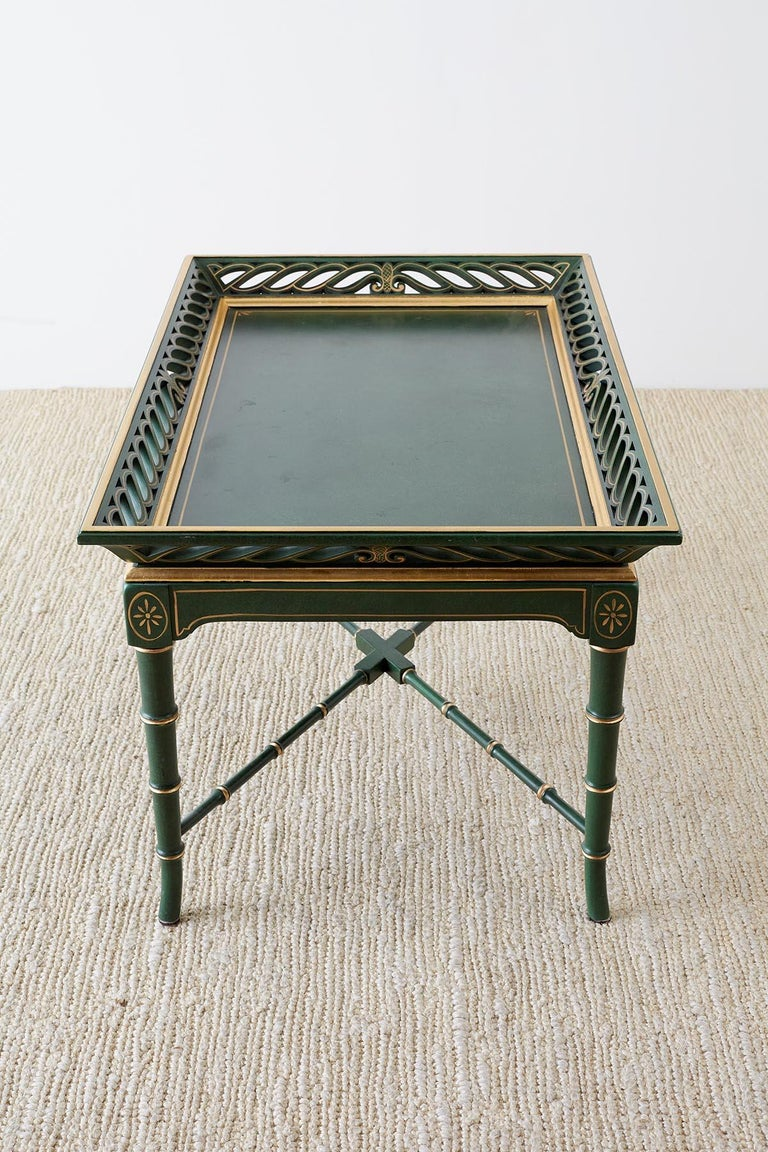 Regency Style Faux Bamboo Parcel Gilt Tray Table 3