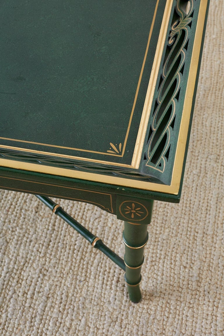 Regency Style Faux Bamboo Parcel Gilt Tray Table 4