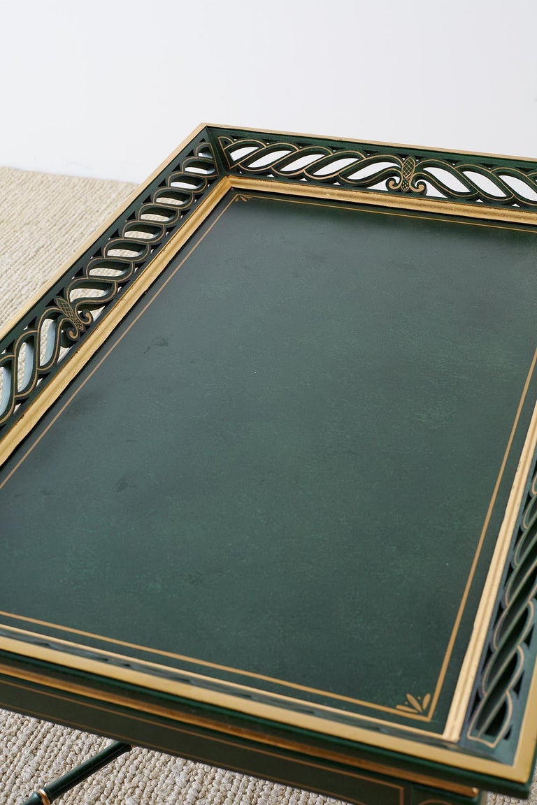 Regency Style Faux Bamboo Parcel Gilt Tray Table 5