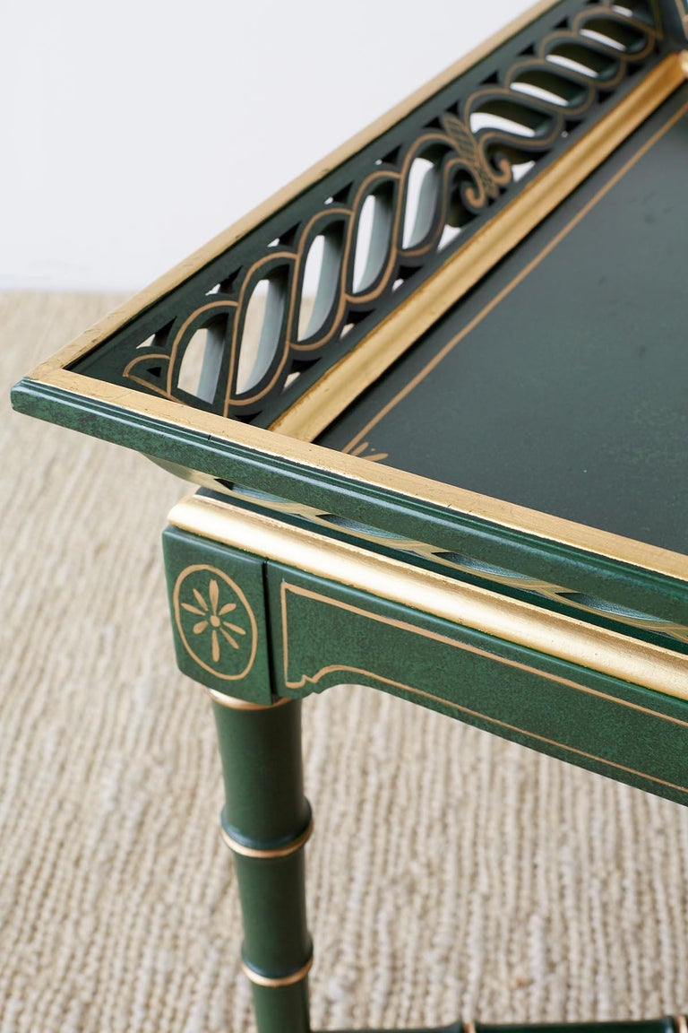 Regency Style Faux Bamboo Parcel Gilt Tray Table 7