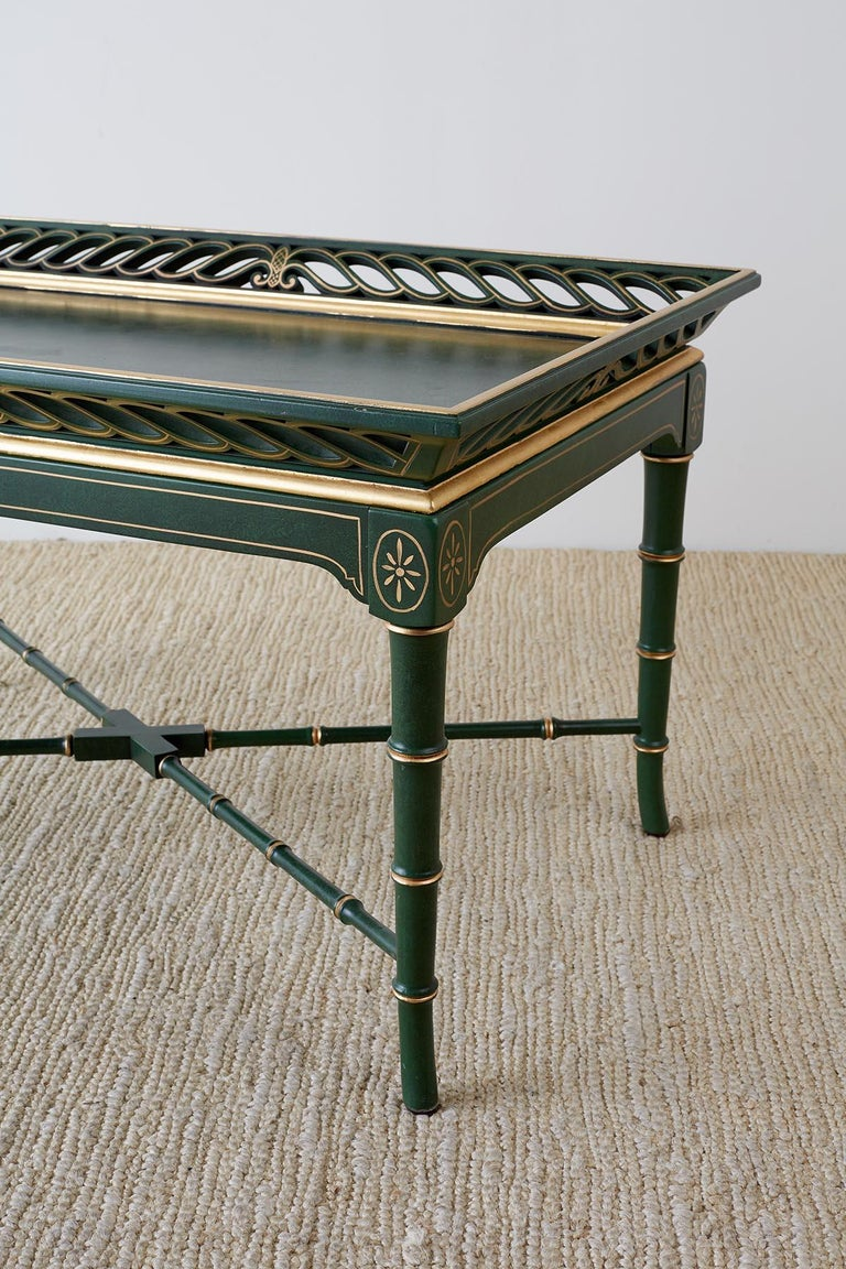 Regency Style Faux Bamboo Parcel Gilt Tray Table 8