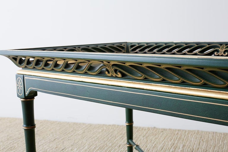 Regency Style Faux Bamboo Parcel Gilt Tray Table 9