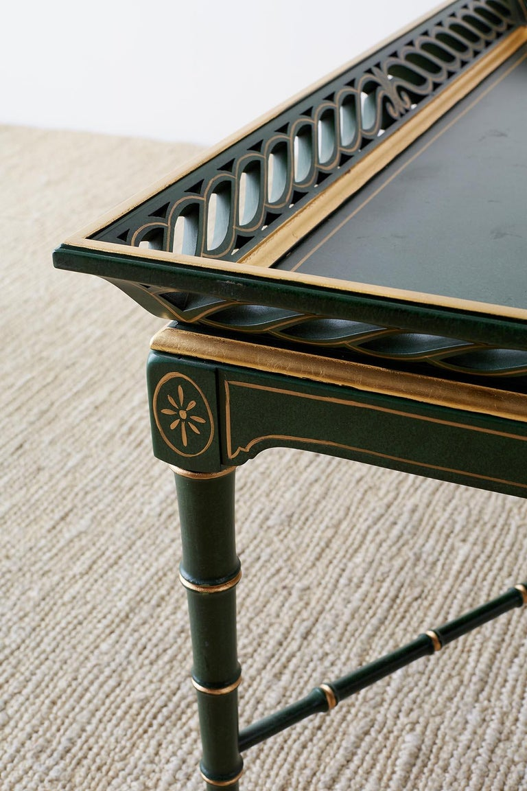 Regency Style Faux Bamboo Parcel Gilt Tray Table 10