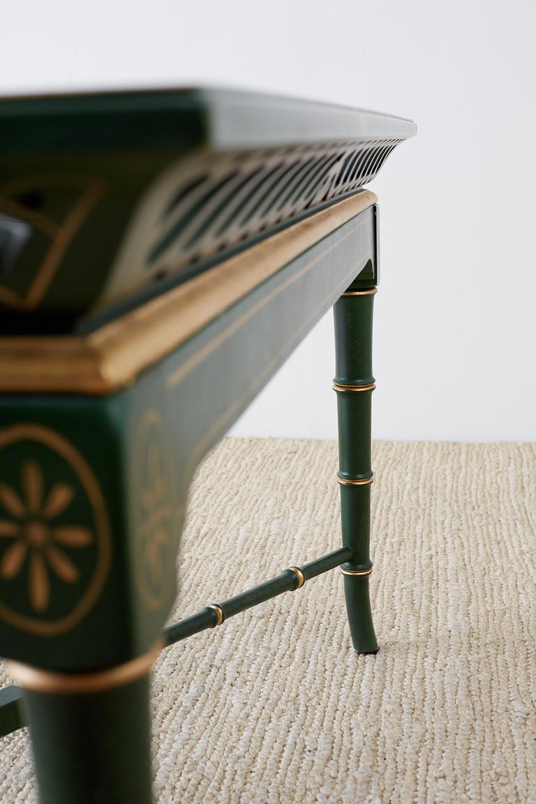Regency Style Faux Bamboo Parcel Gilt Tray Table 13