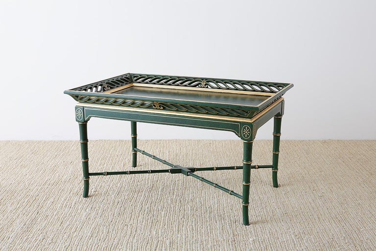 American Regency Style Faux Bamboo Parcel Gilt Tray Table
