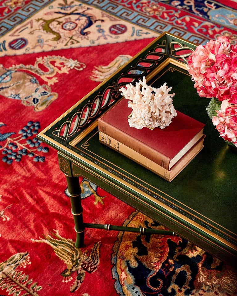 Hand-Crafted Regency Style Faux Bamboo Parcel Gilt Tray Table