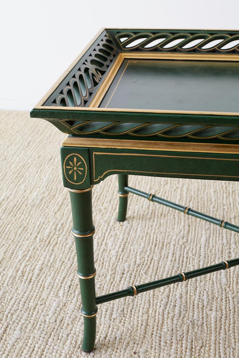 Regency Style Faux Bamboo Parcel Gilt Tray Table In Good Condition In Oakland, CA