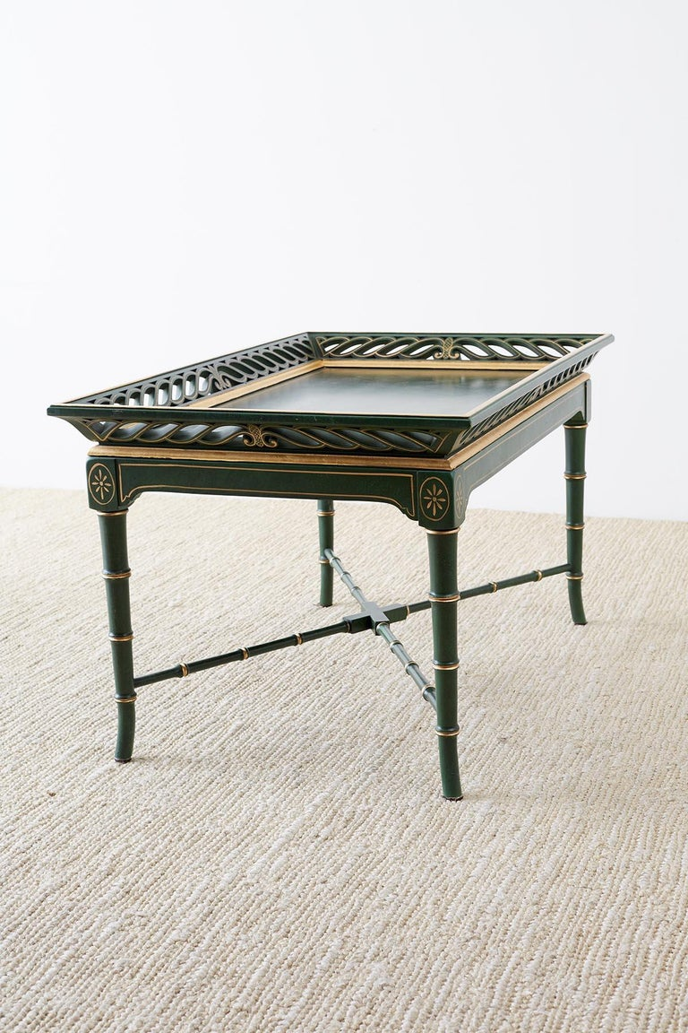 20th Century Regency Style Faux Bamboo Parcel Gilt Tray Table