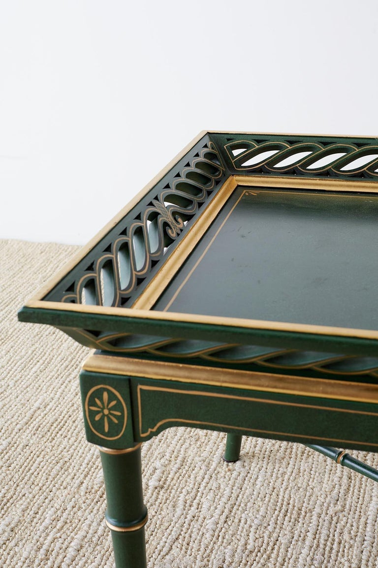 Regency Style Faux Bamboo Parcel Gilt Tray Table 2