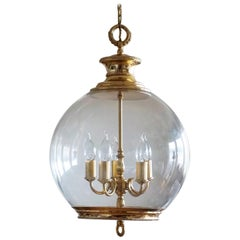 Regency Style French Hand Blown Glass Globe Five-Light Lantern or Chandelier